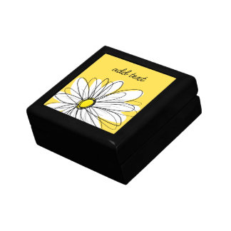 Yellow and White Whimsical Daisy with Custom Text Small Square Gift Box