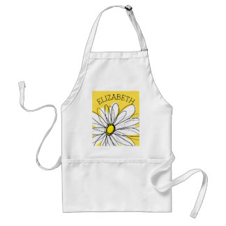 Yellow and White Whimsical Daisy with Custom Text Standard Apron