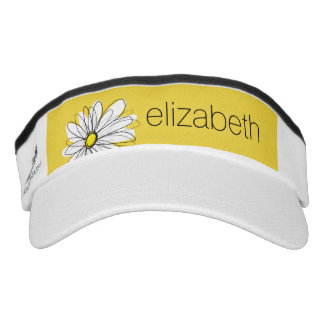 Yellow and White Whimsical Daisy with Custom Text Visor