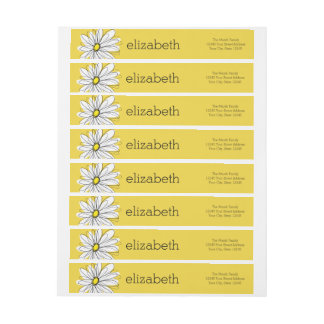 Yellow and White Whimsical Daisy with Custom Text Wrap Around Label