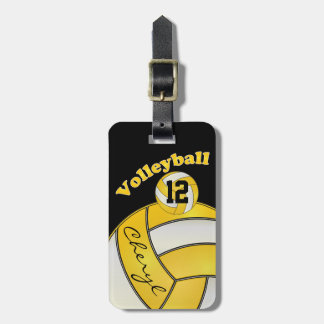 Yellow and White with Black Sporty Volleyball Luggage Tag