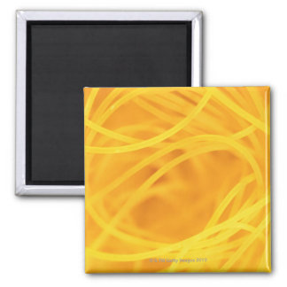 Yellow angel hair pasta square magnet