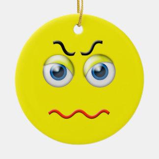 Yellow  Angry Emoji Custom Name Christmas Ornament