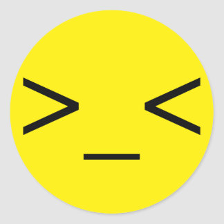 Yellow >_< Angry Emoticon Stickers