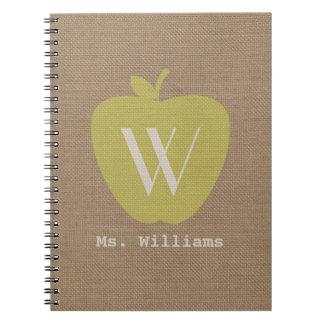 Yellow Apple Burlap Inspired Teacher Notebook
