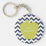 Yellow Apple & Navy Chevron Teacher
