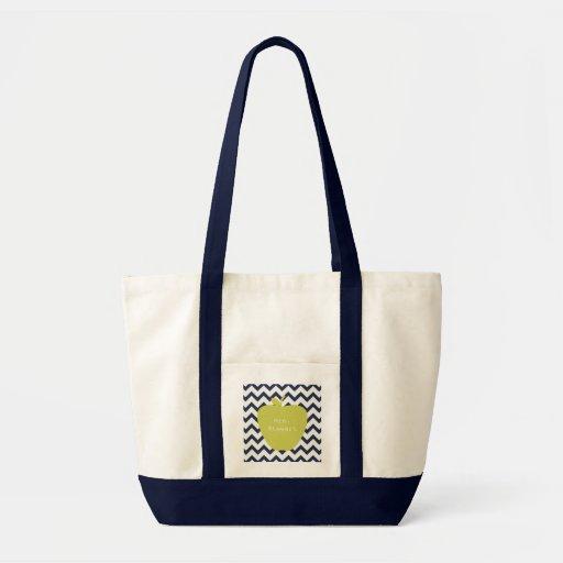 Yellow Apple & Navy Chevron Teacher Canvas Bags