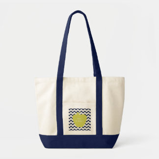 Yellow Apple & Navy Chevron Teacher Impulse Tote Bag