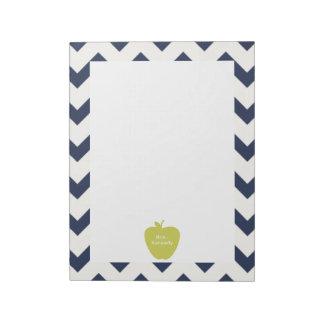 Yellow Apple Navy Chevron Teacher Notepad