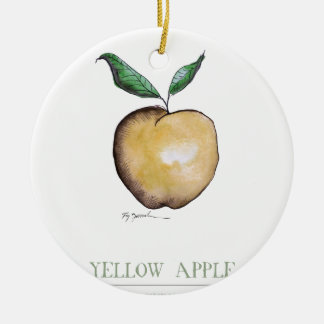 yellow apple, tony fernandes round ceramic decoration