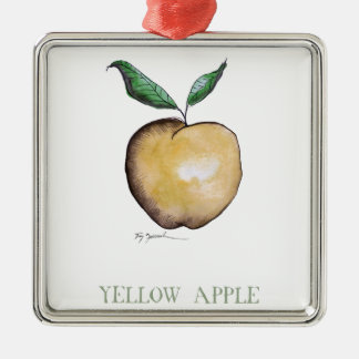 yellow apple, tony fernandes Silver-Colored square decoration