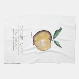 yellow apple, tony fernandes tea towel