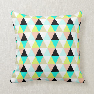 Yellow Aqua Blue Pink Bright Triangles Pattern Throw Pillow
