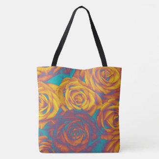 Yellow aqua pink roses tote bag