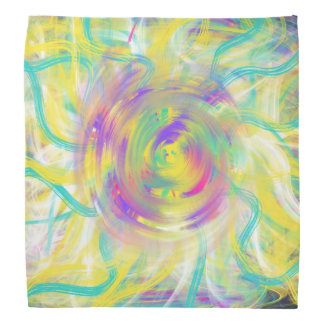 Yellow Aqua Star Spiral Abstract Art Design Bandana