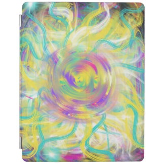 Yellow Aqua Star Spiral Abstract Art Design iPad Cover