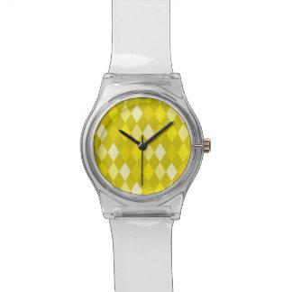 Yellow argyle pattern watch