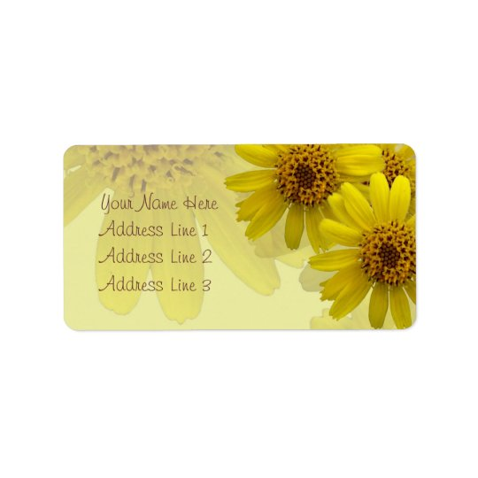 Yellow Arnica Blossoms Collage Address Label