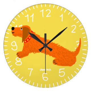 Yellow Art Clock: John Dyer Sausage Dog Design Large Clock