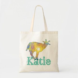 Yellow Art Goat on Things, Design with Your Name Tote Bag