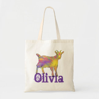 Yellow Art Goat Standing On Design With Your Name Tote Bag