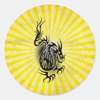 Yellow Asian Dragon Design Stickers