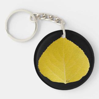Yellow Aspen Leaf #5 Double-Sided Round Acrylic Key Ring