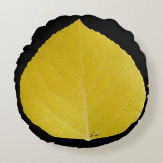 Yellow Aspen Leaf #5 Round Cushion