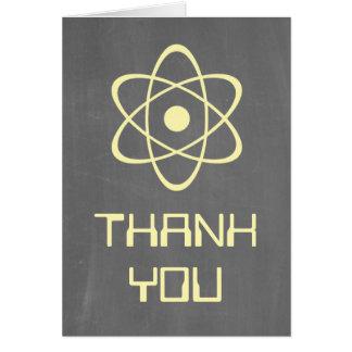 Yellow Atomic Chalkboard Thank You Card