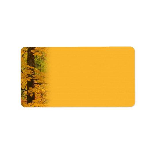 Yellow Autumn Forest Wedding Address Label