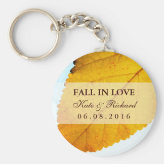 Yellow Autumn Leaf Fall Wedding Favor Keychain