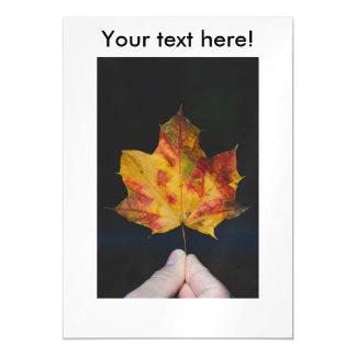 Yellow autumn leaf macro magnetic invitations