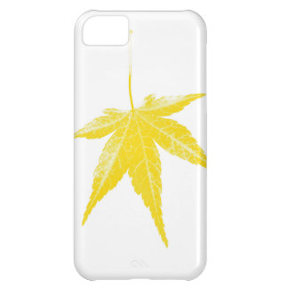 Yellow autumn leaf on white iPhone 5C cover