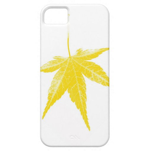 Yellow autumn leaf on white iPhone 5 covers