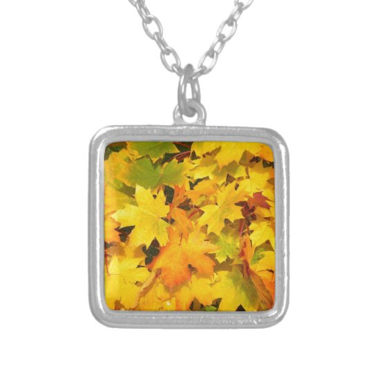 Yellow Autumn Leaves Silver Plated Necklace