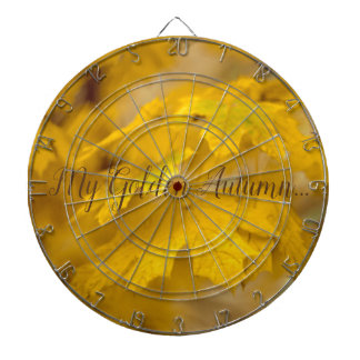 Yellow autumn maple leaves. Add text. Dartboard