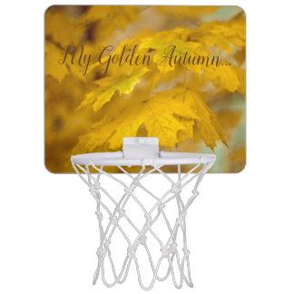 Yellow autumn maple leaves. Add text. Mini Basketball Hoop