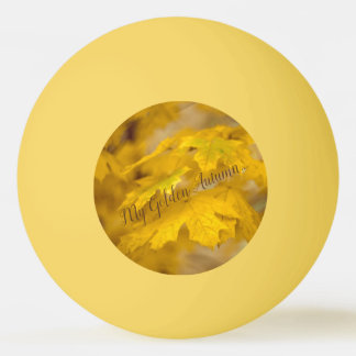 Yellow autumn maple leaves. Add text. Ping Pong Ball