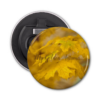 Yellow autumn maple leaves. Add you text. Bottle Opener