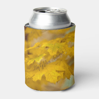 Yellow autumn maple leaves. Add you text. Can Cooler