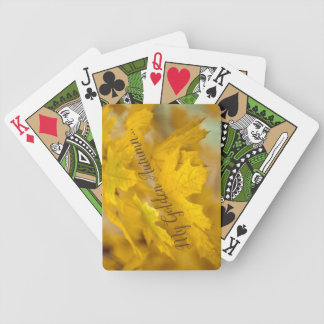 Yellow autumn maple leaves. Add you text or name. Bicycle Playing Cards