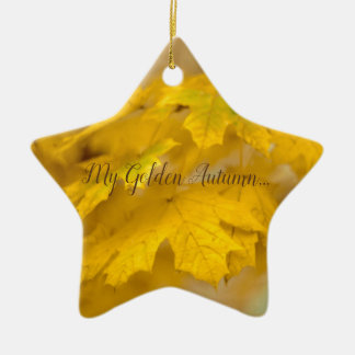 Yellow autumn maple leaves. Add you text or name. Christmas Ornament