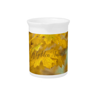Yellow autumn maple leaves. Add you text. Pitcher