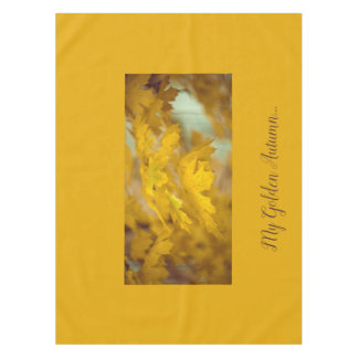Yellow autumn maple leaves. Add you text. Tablecloth