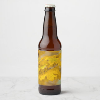 Yellow autumn maple leaves. Add you text.text. Beer Bottle Label