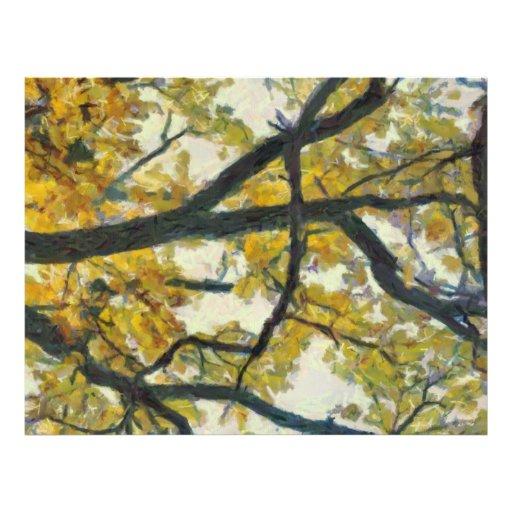 Yellow autumn tree leaves flyer design