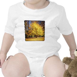 Yellow Autumn Tree Baby Bodysuits