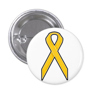 Yellow Awareness Ribbon 3 Cm Round Badge