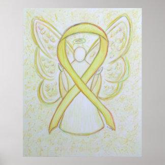 Yellow Awareness Ribbon Angel Poster Art Print