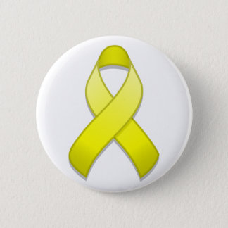 Yellow Awareness Ribbon Button